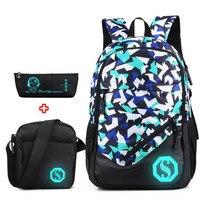 Fashion School Bag Laptop Backpack Bookbag with Florescent Mark 2/3 Sets Primary Middle High School Backpack For Boys Girls