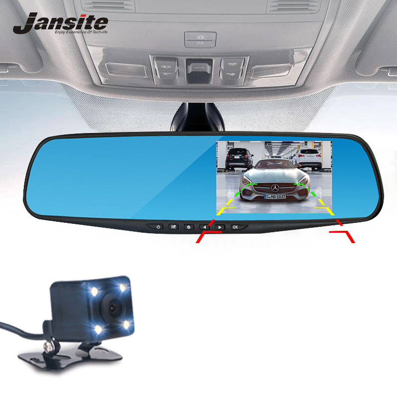 Jansite Car Camera Rearview Mirror Bil Dvr Dual Lens Dash Cam Recorder Video Registrering Videokamera FHD 1080p Night Vision DVRs