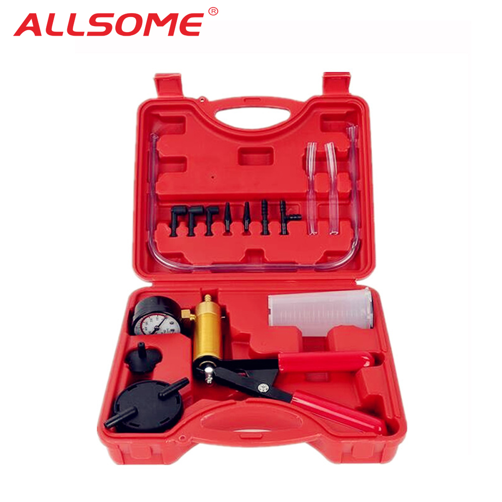 ALLSOME Car Auto Hand Held Vacuum Pistol Pump Brake Bleeder Adaptor Fluid Reservoir Tester Kit 2 In 1 Tool Kits HT1190