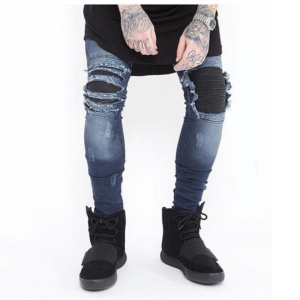 Skinny Jeans Men Ripped White Black Slim Stretch Hole Distressed Mens Biker Jeans Medium Wash Streetwear Hip Hop Pants Jogger euramerican style baggy hip hop men jeans widened increase skateboard pants comfortable mid waist casual mens streetwear jeans