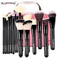 17Pcs Makeup Brushes Tools Set Powder Blusher Eyeshadow Eyeliner Eyebrow Lip Brush 1 Cosmetic Case Makeup