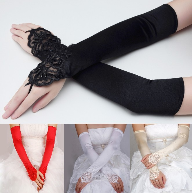1Pair Long Satin Above Elbow White And Ivory Black Bridal Lace Wedding Party Gloves Fingerless Bride Womens Elegant Gloves