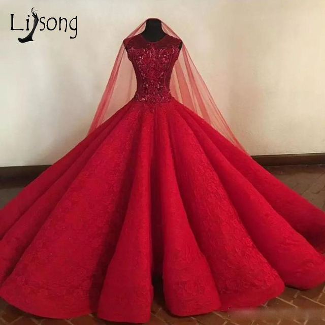 Ball Gown Long Sleeve Beaded Crystal Applique Watteau: Gorgeous Red Lush Lace Prom Dresses 2018 With Beaded