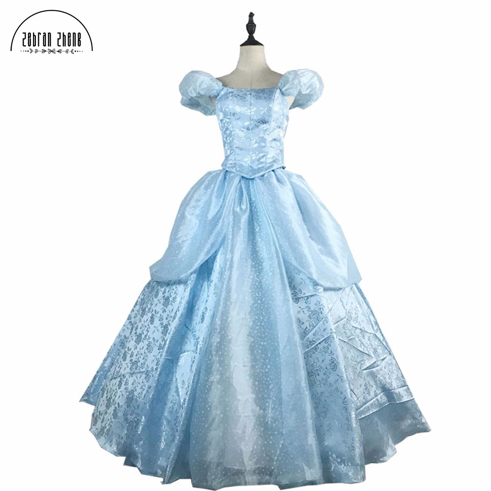 Newest Arrival Top Quality Cinderella Princess Cosplay Costume For Adult Womens Cinderella Dress Costumes