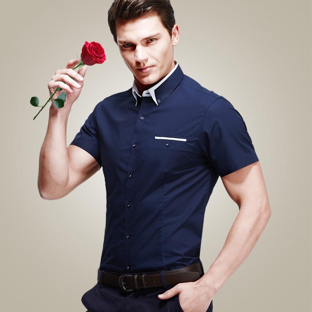 Hot Sale Summer Tights Mens Cotton Shirt Casual Slim Fit Short