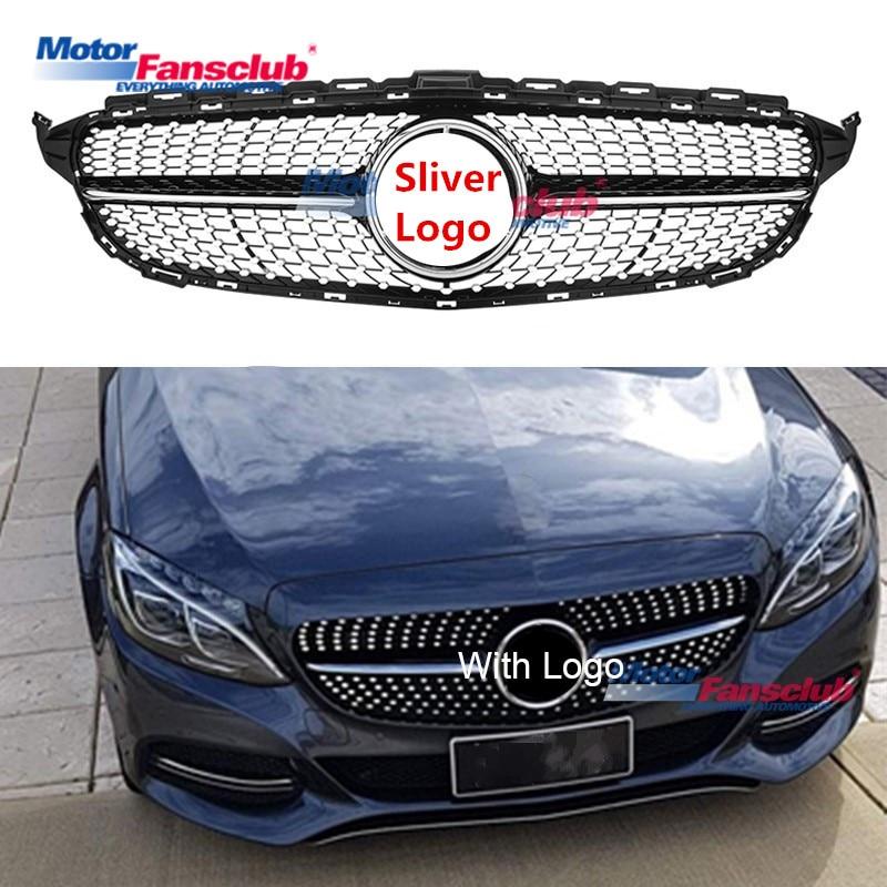 Sliver Chrome Car Racing Grille For Mercedes Benz W205 Grill AMG 2015 2018 C180 C200 C220 C260 C300 Star Logo Diamond Radiator