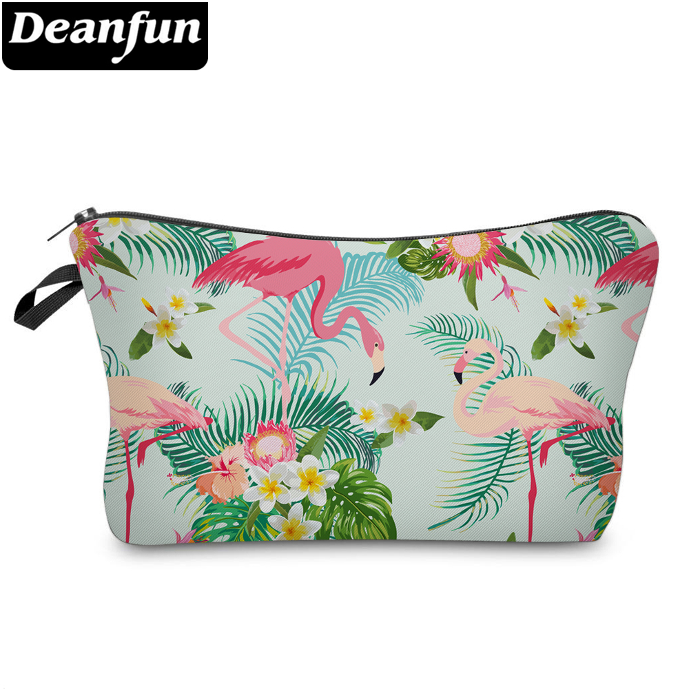 Deanfun Women Cosmetic Bags Flamingo Printed Polyester Makeup Organizer for Travelling  51302Deanfun Women Cosmetic Bags Flamingo Printed Polyester Makeup Organizer for Travelling  51302