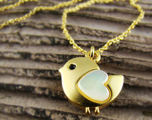 Womens Animal Lovely Heart Bird Pendant Necklace Mother of Pearl Heart Chain Nickel Free-12pcs/lot