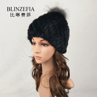 BLINZEFIA Knitted Genuine Real Mink Fur Hats Winter Women Solid Russian Pineapple Fox Fur Pompom Beanies Cap Bonnet Femme BZ6003