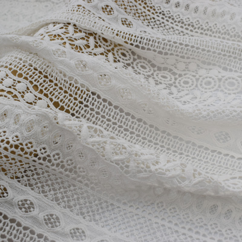 2019 new Geometric water-soluble pure cotton lace fabric for dress  telas por metro tissu tissus bazin riche getzner sewing DIY2019 new Geometric water-soluble pure cotton lace fabric for dress  telas por metro tissu tissus bazin riche getzner sewing DIY