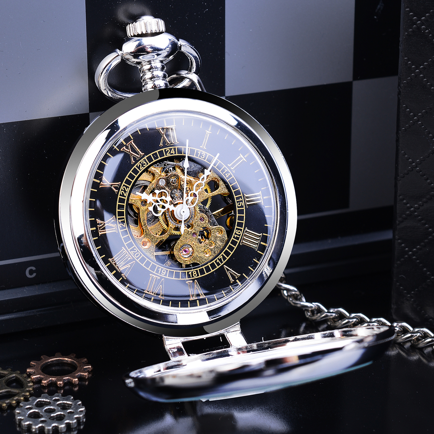 Silver Steampunk Stand Case New Design Clock Mechanical Men Pocket Watch Transparent Skeleton Back Roman Numerals With FOB Chain