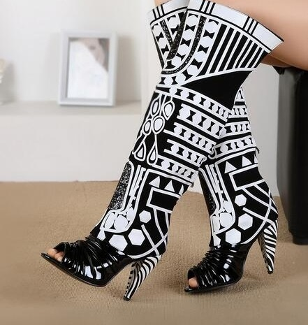 New Design Black White Special Knee High Boots Women Peep Toe Cover Heel Gladiator Sandals Boot Women Size 34-41 Zapatos Mujer handmade high quality 2017 summer new knee high boots gladiator women sandals boot real leather flats casual shoes black size 41