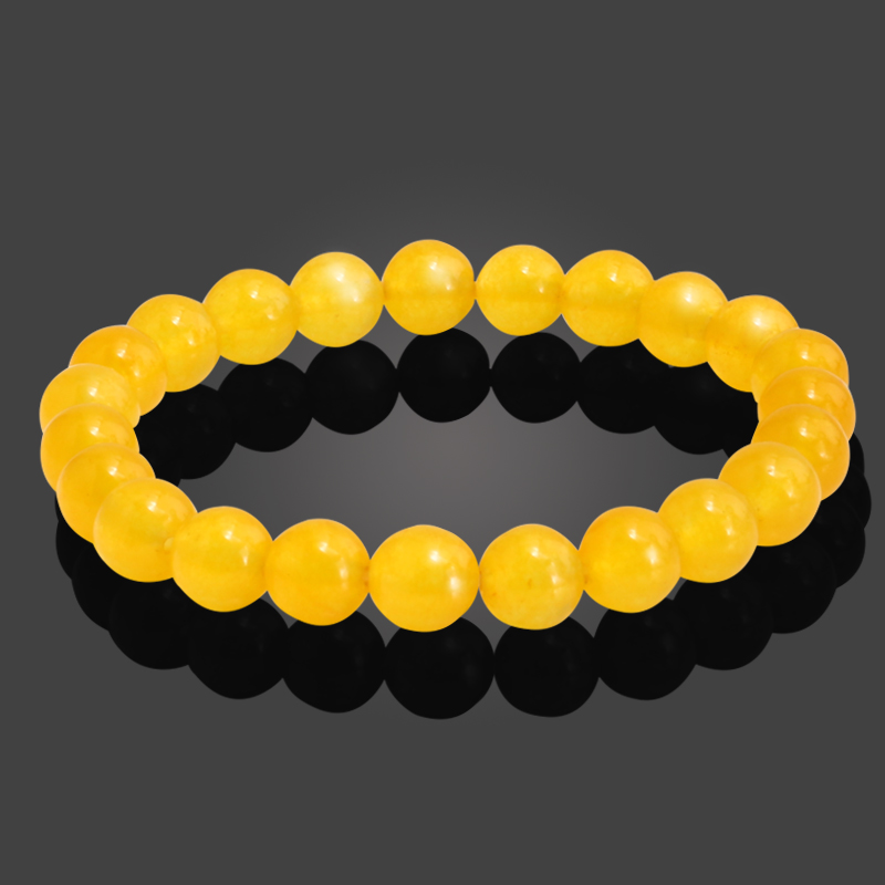 8MM Natural Stone Yellow Beads Female Bracelets for Women Fashion Charms Elastic Round Bead Strand Bracelet Men Jewelry Gifts