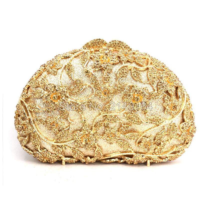 Elegant Beryl Crystal Wedding Prom Handbags Ladies gold Diamond Evening Bag Metal Clutch Purse Party Clutches Bag 88621-A