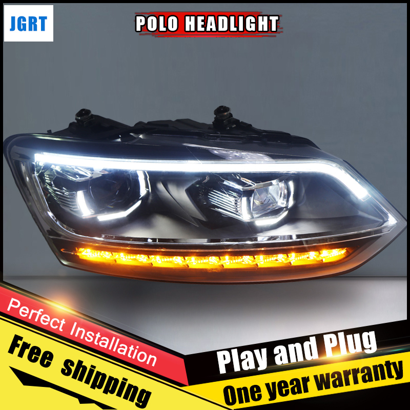 2PCS Car Style LED headlights for VW Polo 2011-2017 for VW Polo head lamp Lens Double Beam H7 HID Xenon bi xenon lens auto part style led head lamp for vw polo led headlights 11 13 for polo drl h7 hid bi xenon lens angel eye low beam
