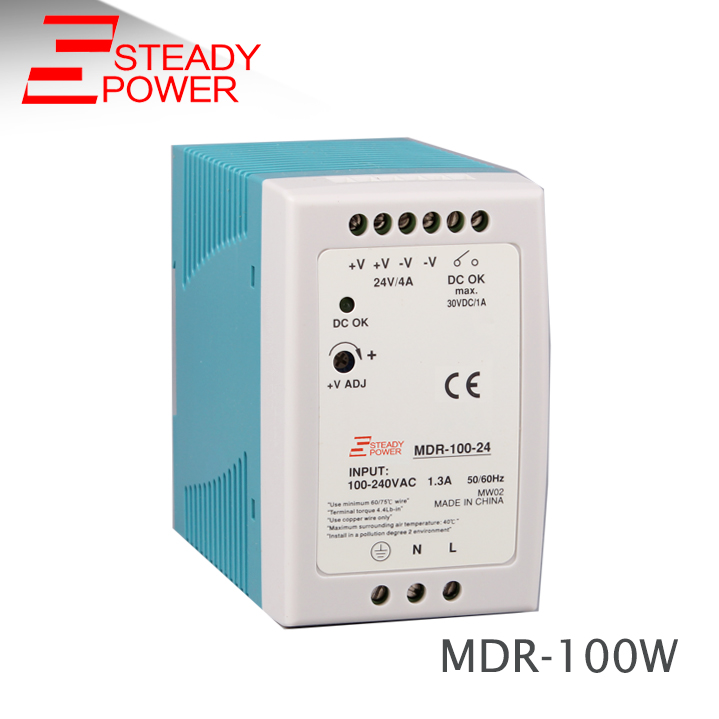 Plastic case smps psu 100 watt 24 volt led driver module 48v 2a ac/dc industrial din rail power supply MDR-100-12