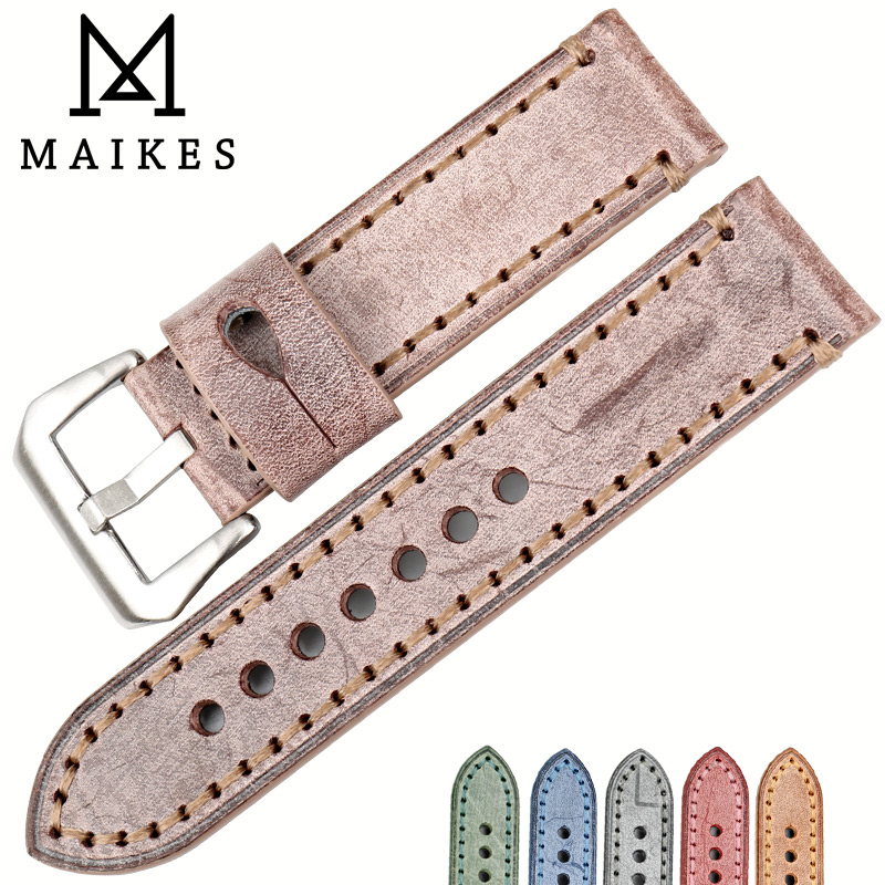 MAIKES New design accessories watch band brown vintage bridle leather watch strap 22mm 24mm watch bracelet watchband for Panerai new matte red gray blue leather watchband 22mm 24mm 26mm retro strap handmade men s watch straps for panerai