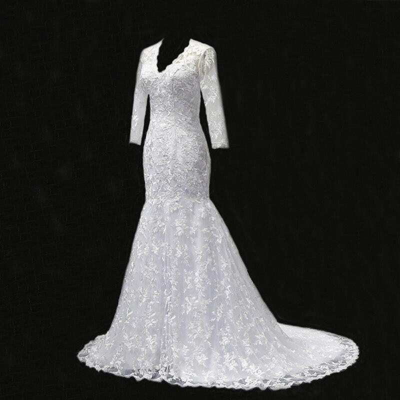 MN036 Vestidos de Novia Wedding Dresses Mermaid Lace Sexy V Neck 3/4 Long Sleeves Fully Lace Wedding Gown Robe de mariage 2018