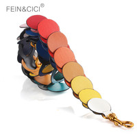 Shoulder strap 100% genuine cow leather colorful RAINBOW strap you handbag large big strap