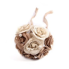 Wedding Burlap Bouquet Hand-made Bride Holding Toss Bouquet Roses with Pearls and Lace Artificial Flowers Decoration for Wedding artificial hand made flowers