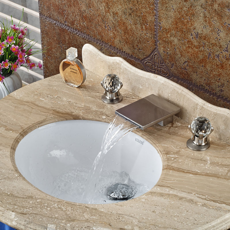 New Design Waterfall Dual Handle Basin Faucet Deck Mount Brushed Nickel 3pcs Hot Cold Mixer Taps