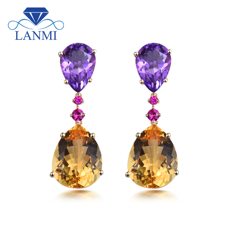 New Trendy Pear Shaped Amethyst & Citrine In Solid 14Kt Yellow Gold Earrings For Party Engagement ER0089 pair of trendy solid color smooth surface cylinder shaped cufflinks for men