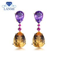 New Trendy Pear Shaped Amethyst & Citrine In Solid 14Kt Yellow Gold Earrings For Party Engagement ER0089