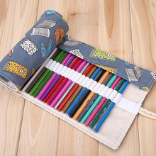 36/48/72 Holes Roll Up Pencil Case Stationery Canvas Korean School Supplies Pencil Pouch Pencil Bag Kits Rolling Up Holder