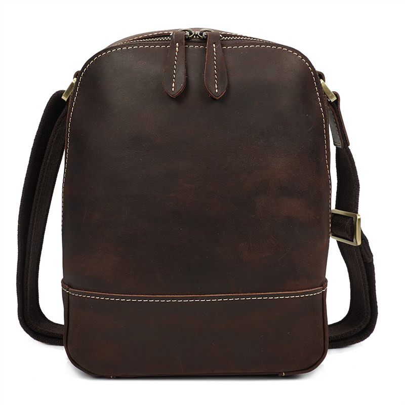 Nesitu High Quality Vintage Brown Thick Durable Genuine Leather Small Men Messenger Bags Crazy Horse Leather Shoulder Bag M8076 niuboa new casual leather shoulder bags genuine leather men chest bag high quality retro crazy horse small messenger bag for man