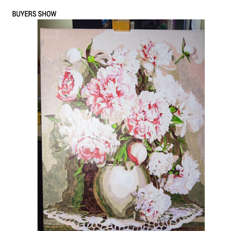 CHENISTORY Pink Europe Flower DIY Painting By Numbers Acrylic Paint By Numbers HandPainted Oil Painting On CHENISTORY Pink Europe Flower DIY Painting By Numbers Acrylic Paint By Numbers HandPainted Oil Painting On Canvas For Home Decor