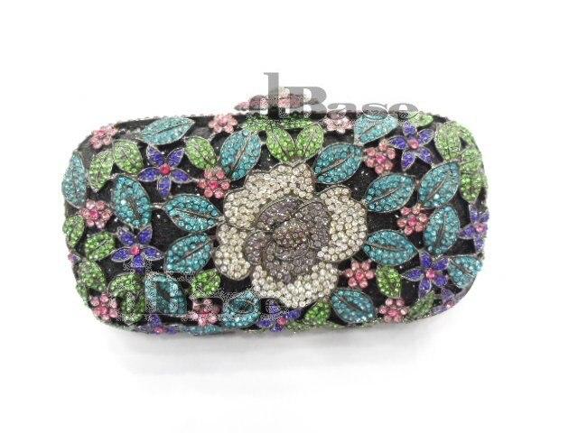 ФОТО A6158E crystal Rose Floral flower Lady fashion Bridal Party Night hollow Metal Evening purse Handbag clutch bag
