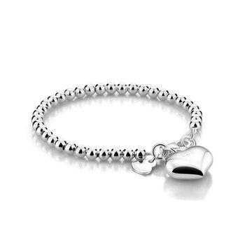 Alta qualidade simples 4 MM/6 MM bola bead bracelet. Sólido 925 silver heart-shaped jóias. Moda de prata das mulheres 15 centímetros/20 cm cadeia
