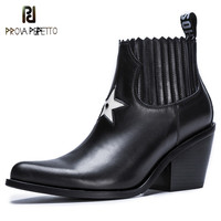Prova Perfetto New Style Women Boots Fashion Five Pointed Star Zapatos Mujer Tacon Pointed Toe High Heel Boots Woman Ankle Boots