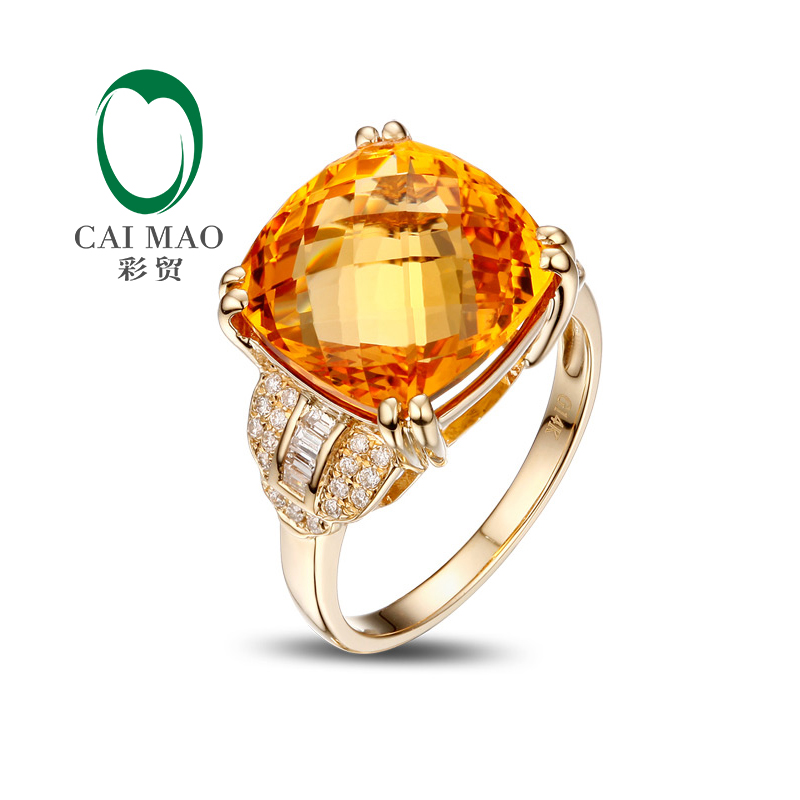 14k Yellow Gold 8 20ct Cushion Flawless IF Citrine Pave Set Diamond Engagement Ring