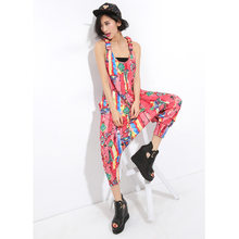 60365b597e0 Fashion Rompers Jumpsuits Women Sleeveless Graffiti Pattern Print Harem  Pants Casual Overalls Woman Cropped Trousers Capris