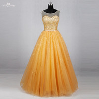 RSE778 Sleeveless Gold Gowns Sequin Prom Dress