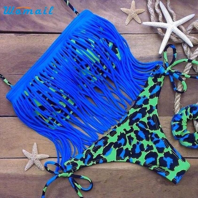 2016 Sexy Women bikinis set Female Leopard Tassel Swimwear Bandage Swimsuit Bathing Beachwear Lady bikinis set Activing AU5X12