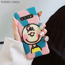 YHBBCASES For Samsung S10 5G S8 S9 Plus Cute Boy Charlie Soft Cover Note 10 8 9 Retro Cartoon Candy Color Phone Case