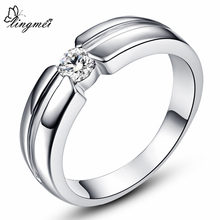 Lingmei Solitaire สไตล์แฟชั่น White Cubic Zircon Silver & White Gold สีแหวนขนาด 6 7 8 9 10 (China)