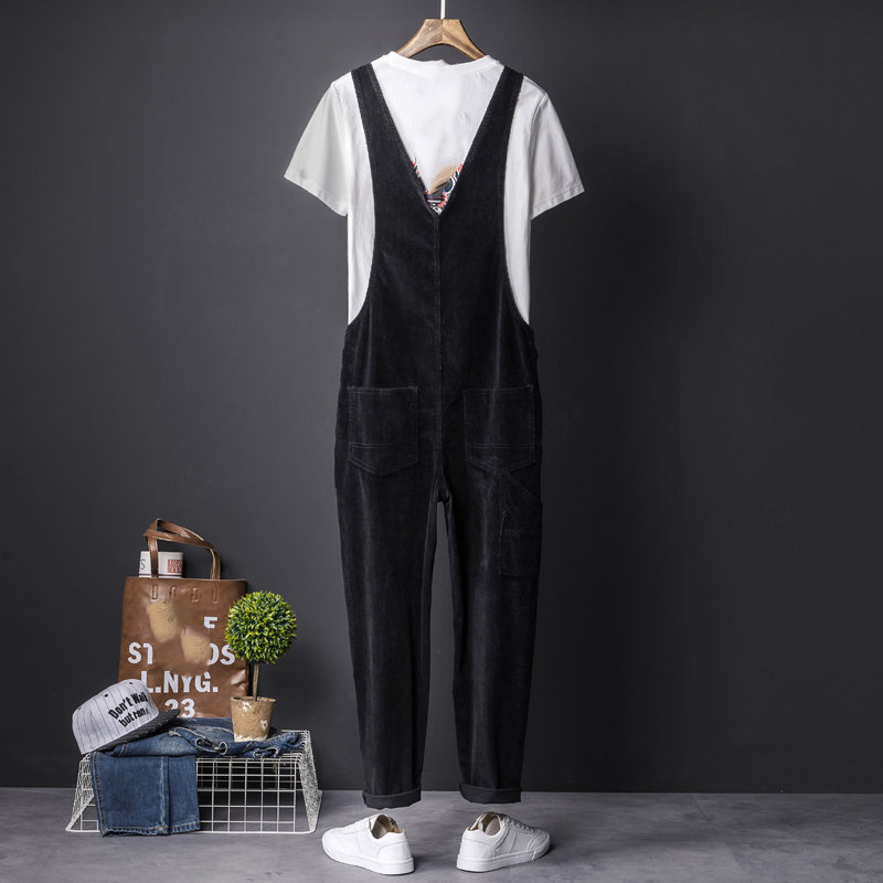 5d0eb3dbacbe Mens Corduroy Jumpsuit Slim Fit Ankle Length Black Overalls Pants For Men  New 2018 Japan Style Bib pants Fashion Brand Clothing-in Overalls from Men s  ...