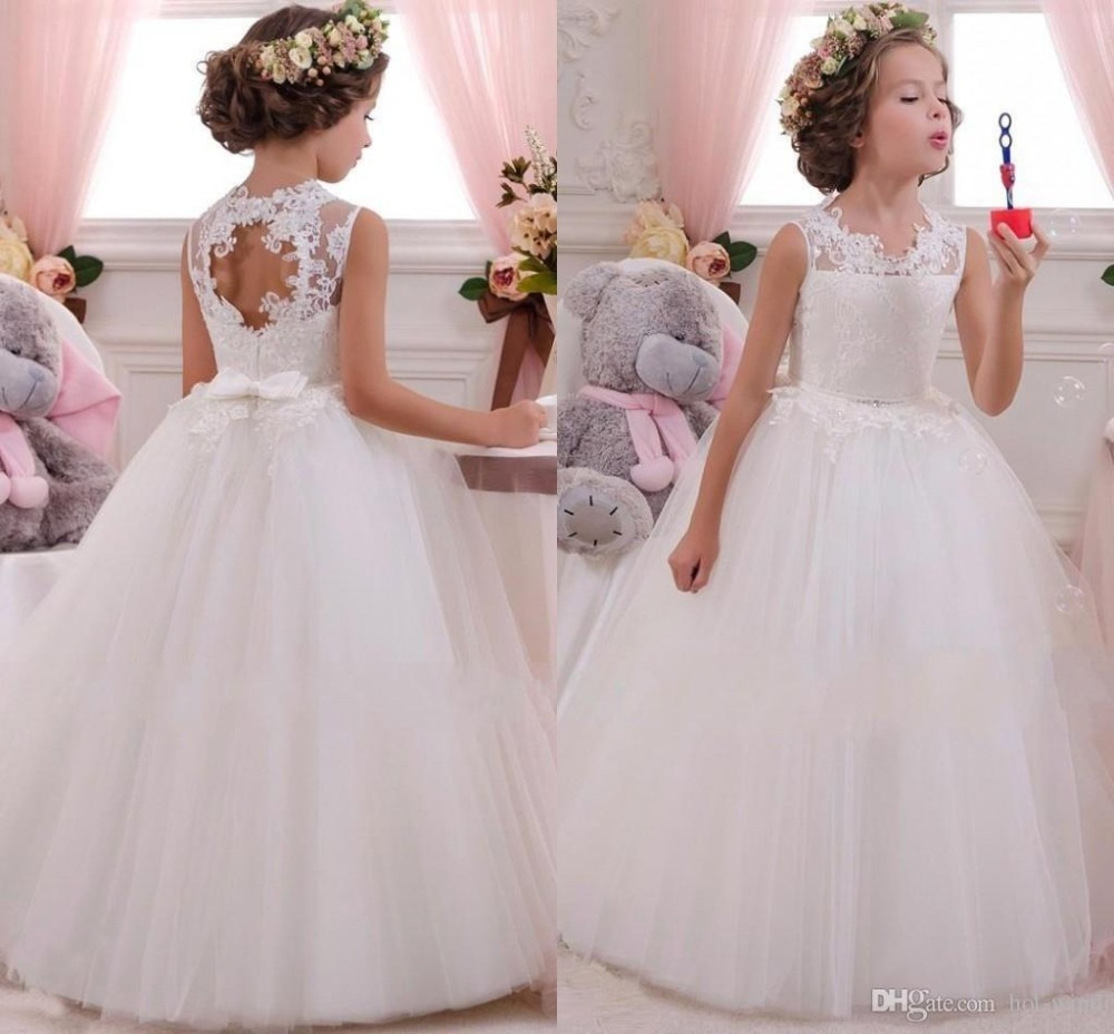 High quality white lace beach flower girl dress for for Beach wedding flower girl dresses