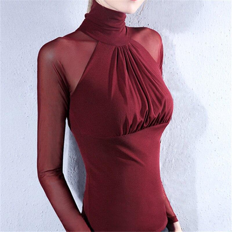 DHfinery malha camiseta mulheres outono perspectiva de gola alta Sexy busto T-shirt de manga longa preto branco elasticidade top sg26110