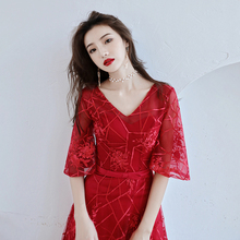 Prom Dress Sexy V-neck Short Sleeve Embroidery Formal Party Gowns Lace Bandage Floor-length A-line 2019 Red Evening Dresses E318
