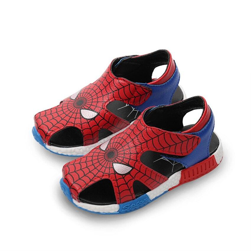 Cartoon Close Toes Beach Sandals for Boys Light Rubber Soft Bottom Anti-slip Summer Shoes Eur Size 21-30 Children Kid Flat Shoes
