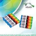 100 unids/pack Clips de Cable de plástico número Tag ( 0 ~ 9 ) 10 colores elástico suave PVC Clip de alambre forma M Cable Marking etiqueta Clamp