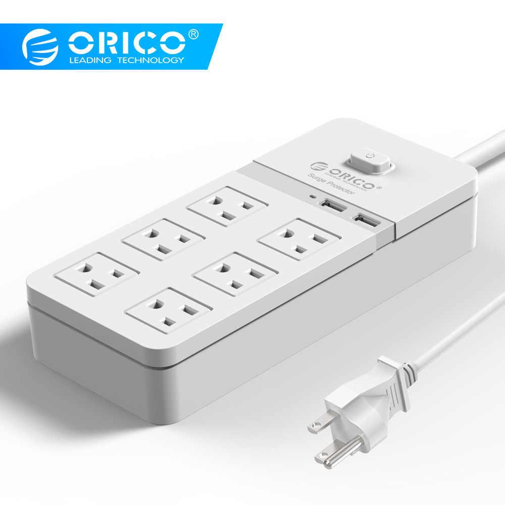ORICO SPT-S6 inteligentny USB gniazdo listwy zasilającej US wtyczka zabezpieczenie przed przeciążeniem przełącznik ochrony przeciwprzepięciowej 6 Outlet 2 Port USB ładowarka 1.5 M moc przewód