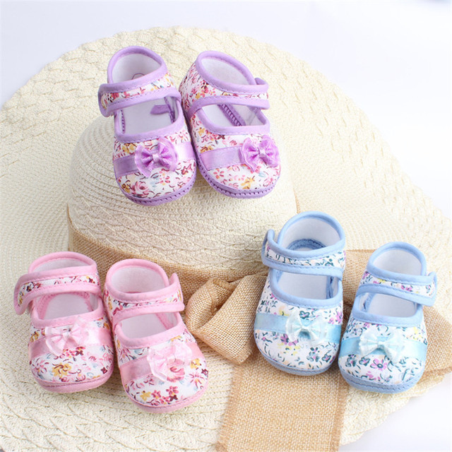 2019 New Fashion Infants Shoes Baby Kids Bowknot Flower Printed First Walkers Sweet Color Prewalker Cotton Fabric Shoes 4