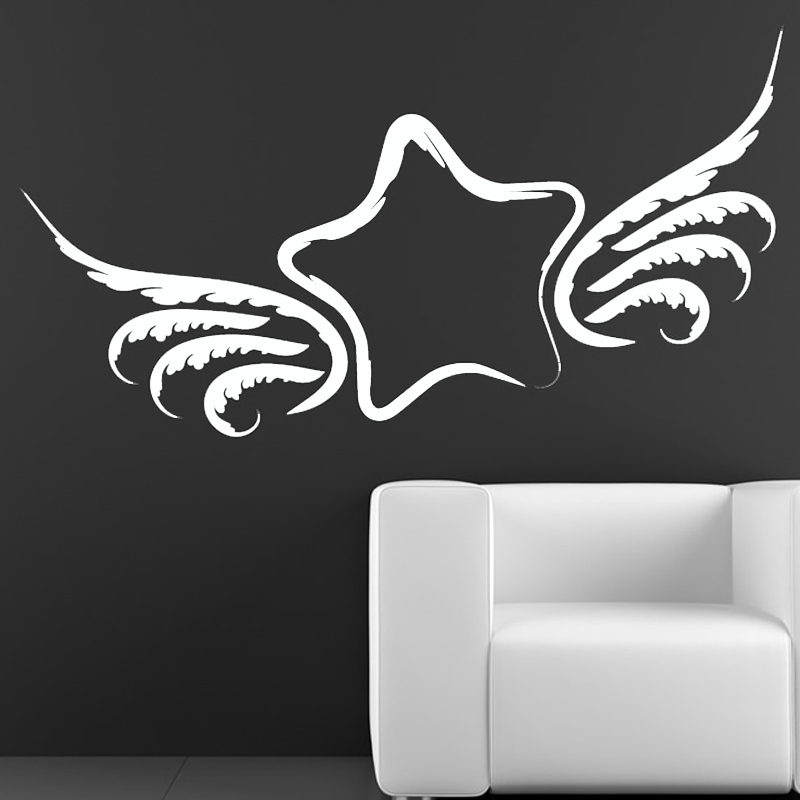 Dctop Creative Design Winged Star Wall Sticker White Home Decor Living Room Vinyl Removable Wall Decal
