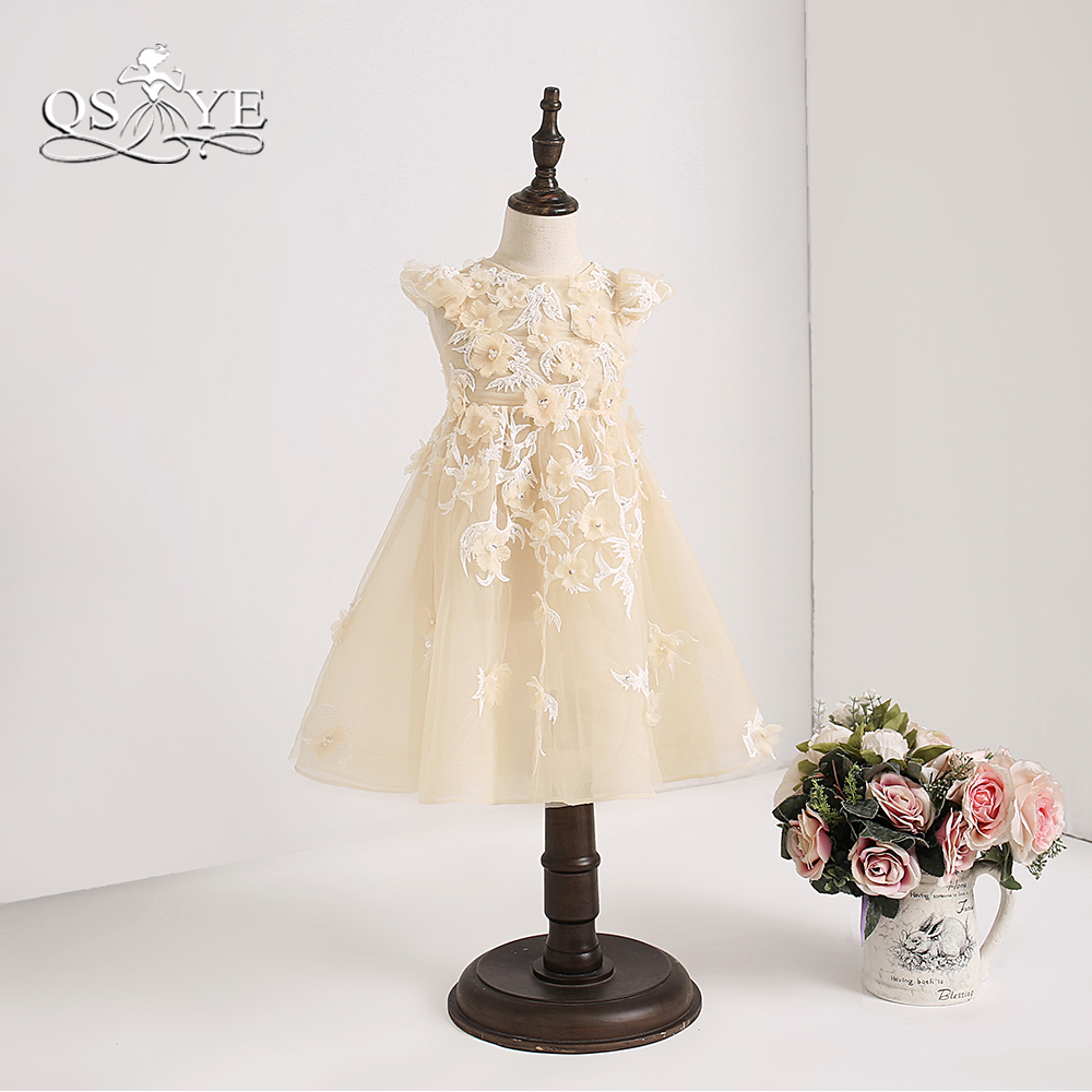 QSYYE 2018 Champange Tulle Cute   Flower     Girl     Dresses   A-line Knee Length 3D   Flower     Girls   First Holy Communion   Dress   Custom