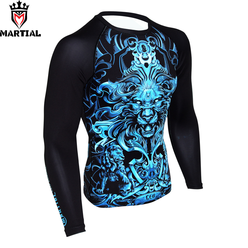 Martial :Free shipping Leo printed  boxing jerseys mma compression shirts sports jerseys mma rashguards shirt gym crossfit tight